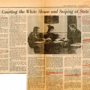 "Powiększ zdjęcie Artykuł prasowy o Zbigniewie Brzezińskim pt. ""Courting The White House and Sniping at State"" opublikowany w ""The Washington Post"", 20.12.1979 r.; AAN, Akta  Zofii i Stefana Korbońskich, sygn. 351."